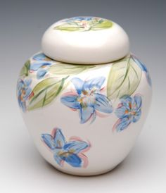 Porcelain Urn with Hand Painted Flowers.