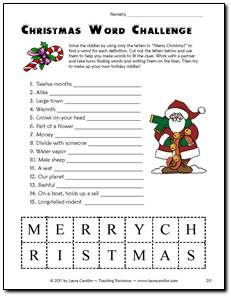 "Christmas Word Challenge Game. Students use the letters in ""Merry Christmas"" to solve the riddles at the top of the page. Fun activity for Holiday parties! Just one of the holiday activities in the December Activities Mini Pack from Laura Candler's Teaching Resources $"