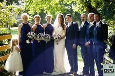 The bridal party photographed with beautiful light after the wedding ceremony, Autumn colours all around. Weddings at The Knightsbrook Hotel Photographed by Couple