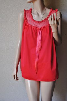 Vintage Red Short Nightie With Sheer Top  by LingerieAddicts, $17.50