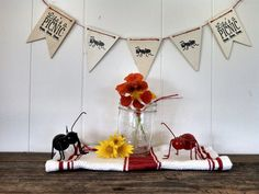 Summer Banner Life is a Picnic Ants Wood Sign Banner Summer BBQ Bunting Beach Party. Sweetthymes.etsy.com
