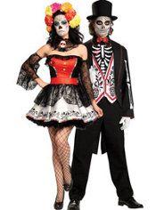 Sugar Skull and Skeleton Groom Couples Costumes