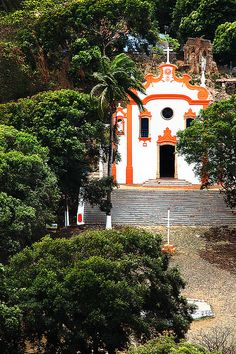 F. NORONHA  Vila Dos Remédios Church of Fernando de Noronha, one of the most beautiful islands in Brazil.