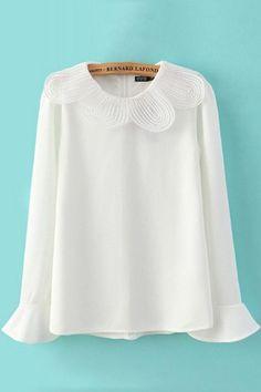 Cuello de encaje Llanura llamarada manga larga blusa