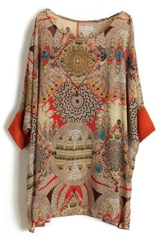 Orange Batwing Sleeve Retro Floral Chiffon Blouse pictures