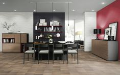 Combine melamine Whitewood, Aluminium, Black Havana Pine and Black to create your perfect dining room. Wooden Flooring, Laminate Flooring, Vinyl Flooring, Floors Direct, Braun Design, Floor Colors, Carpet Tiles, Light Oak, Living Spaces