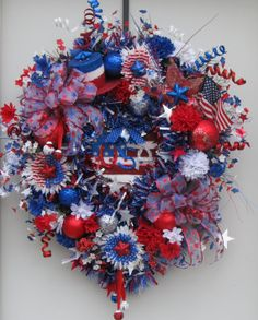 XL 4th of July Wreath Door Wreath Beautiful by SKSteinWreaths, $139.99