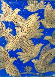 Alekos Fasianos (Greek artist), doves on royal blue background