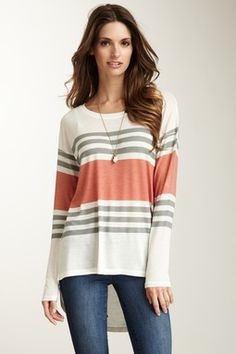 Middle Coral Hi-Lo Summer Sweater