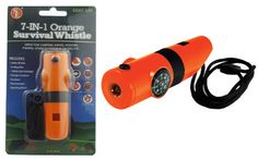 7-IN-1 Survival Whistle with LED Flashlight - Orange