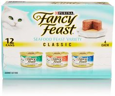 Fancy Feast Classic Seafood Feast Variety Pack 3 flavor ( Cod, Sole and Shrimp, Savory Salmon, Ocean Whitefish and Tuna Feast) 3ounce - Cans In A Box (Pack of 12) * To view further, visit now : Cat food