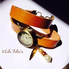 Montre cuir camélia double tour.  www.lilifolies.wordpress.com