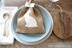 Burlap Bunny Bags   FourRDesigns on etsy via Our Vintage Home Love