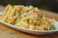 Pasta Carbonara: Pasta served with ham and plenty of cheese.