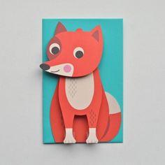 <p>Grande carte en 3D en forme de renard avec enveloppe turquoise, illustration par l'artiste suédoise Ingela P. Arrhenius, éditée par OMM Design. Pour envoyer un joli message à vos amis. On aime la mise en volume de ce sympathique animal et son regard coquin!</p>