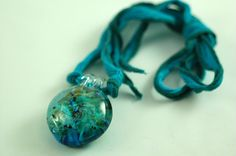 Turquoise Lamp Work on Silk Ribbon Necklace N185 by Marcia Etheridge