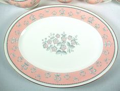 "Pimpernel Pink Wedgwood English China 15"" LARGE Oval Platter W3652 Gold Trim #Wedgwood"