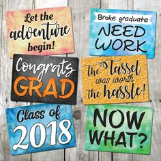 Celebrate your graduation with these colorful, cheerful signs that you and your guests will love! Party Props, Party Ideas, Plastic Signs, School Reunion, Diy Photo Booth, Class Of 2019, And So The Adventure Begins, Party Guests, For Your Party