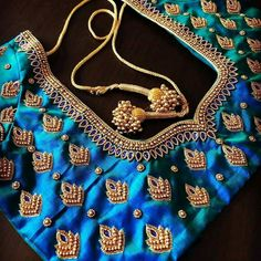 Wedding Saree Blouse Designs, Wedding Mehndi Designs, Silk Saree Blouse Designs, Fancy Blouse Designs, Blouse Neck Designs, Wedding Blouses, Hand Work Embroidery, Embroidery Designs, Hand Work Blouse Design