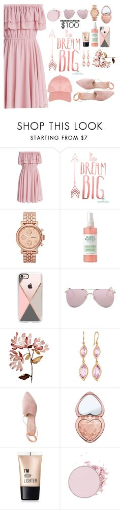 """""""Pink"""" by zanfira-panciu ❤ liked on Polyvore featuring Chicwish, FOSSIL, Casetify, Le Specs, Carelle, Summit, Too Faced Cosmetics, Charlotte Russe and Armitage Avenue"""