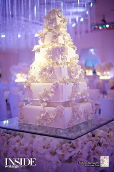 Glamorous Wedding Cake Table Ideas for Spectacular Wedding Decor- A young man and young woman will be so busy to prepare their big day, wedding. There are numerous things to prepare before a wedding including the sui. Big Wedding Cakes, Square Wedding Cakes, Beautiful Wedding Cakes, Gorgeous Cakes, Wedding Cake Designs, Pretty Cakes, Wedding Cake Toppers, Extravagant Wedding Cakes, Luxury Wedding Cake