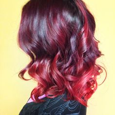 Violet to red ombré by Katrina of sun spa salon