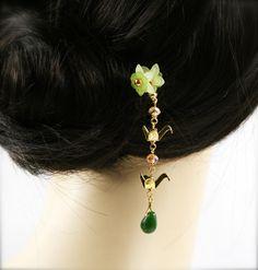Prosperous crane hair fork HF by sophinegiam on Etsy, $14.00