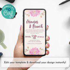 Mimosas and Brunch Birthday Brunch Pink Customizable Smartphone Invitation
