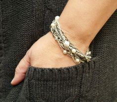 Chain & Pearl Multi-Row Bracelet » Flamingo ToesFlamingo Toes
