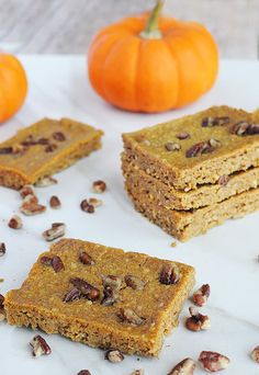 A perfect treat that everyone in the family can enjoy: Keto Pumpkin Pie Blondies. Shared via http://www.ruled.me/