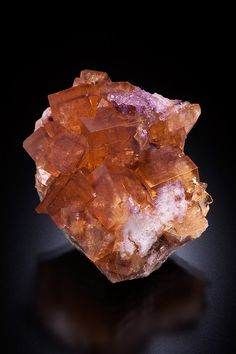 Yellow Fluorite with phantoms & small purple Fluorite crystals