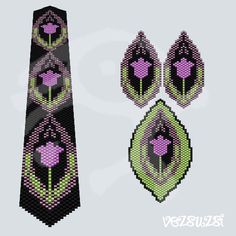 Peyote pattern Peyote pattern set, contains patterns of earrings, a bracelet and a pendant. Patterns for one drop peyote stitch. Sizes: bracelet: x earrings: pendant: Please note that my patterns do not include instructions about the peyote stitch. Beading Tutorials, Beading Patterns, Peyote Stitch Patterns, Peyote Beading, Beadwork, Quilling Patterns, Earring Tutorial, Seed Bead Jewelry, Bead Weaving