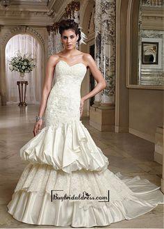 Alluring Organza & Satin Sweetheart Neckline Natural Waistline Mermaid Wedding Dress