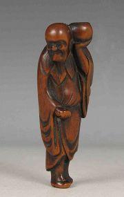 Japonesa Netsuke de madera de Hadaka Sonja