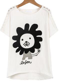 White Short Sleeve Flocked Lion T-Shirt - Sheinside.com