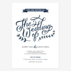 Calligraphy Lettering Wedding Invitation - Custom Wedding Invitations Online