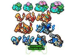 Arrancadores de generación 1 de Pokemon Perler y por ShowMeYourBits