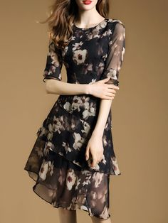 Multicolor Floral-print Half Sleeve Flounce Midi Dress