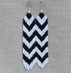 Extra Long Earrings. Chevron Earrings. Dangle Black by Burvesrotas, $56.00