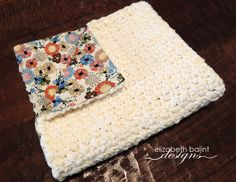 Crocheted Baby Girl Blanket with Floral Print Fabric by ElizabethBalint