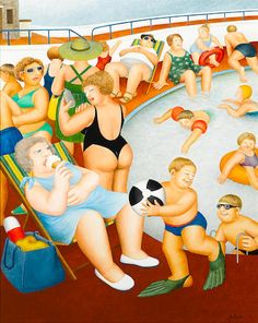 Beryl Cook (British, 1926-2008) The Bathing Pool 30 x 24in (76 x 61cm)