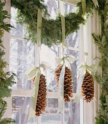 Pinecone holiday crafts - hanging pine cone