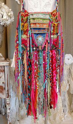 Handmade Fabric Long Fringe OOAK Bag Hippie Festival Boho Gypsy Purse tmyers #HandmadebyTraciMyersMe #ShoulderBag