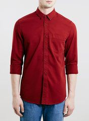 Berry Red Long Sleeve Twill Shirt