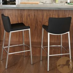 Christopher Knight Home Mauricio Black PU Barstools (Set of contemporary bar stools and counter stools Leather Counter Stools, Black Bar Stools, Counter Bar Stools, Black Stool, Island Stools, Contemporary Bar Stools, Modern Bar Stools, Bar Furniture, Furniture Deals