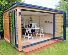 """(The """"She Shed"""". The """"He Shed"""" (aka: Man Cave). Whatever it is you decide on, let your she shed/he shed be a reflection of you! This base price does not include a trailer. Backyard Office, Backyard Studio, Backyard Sheds, Backyard Patio, Outdoor Office, Outdoor Rooms, Shed Design, House Design, Garden Design"""