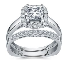 R9312w, Princess center stone, Mount .25tw  Wedding Band R9312bw, .21tw  Available in 14k, 18k and Platinum