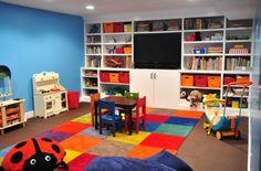 Kids playroom...one wall like this, except all cabinet doors across the bottom.