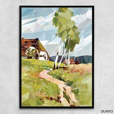 Plakat - Dansk landskab, geometrisk. No.4