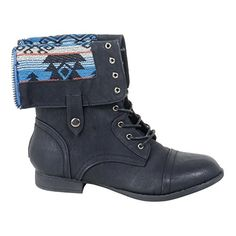 055471fe31af Boots for Burning Man  HerStyle Women s Manmade Emoojjii Combat Boot with  Patterned Fold-Down